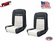 Deluxe Pony Seat Upholstery Ford Mustang, Front Bucket Seats - Black And White