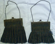 2 Two Antique Silver Plated Frame Purses Cobalt Blue Beaded Damaged For Repair