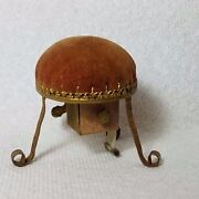 Combo Rare Tape Measure And Pin Cushion Metal Stool Antique C1870and039s Wind-up