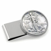 New Stainless Steel Silvertone Year To Remember Half Dollar Coin Money Clip 1940