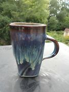 Bill Campbell Art Pottery Blue Flambe Drip Coffee or Beer Mug Stein Cup