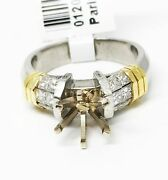 18k Gold And Platinum Two Tone Semi Mount Engagement Ring Dia 0.80 Ct