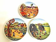 Italy Castelli Ceramic maiolicas Hand Made / Painted Signed Plates Folk Art / 3