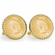 New Gold-layered Civil War Indian Head Penny Rope Bezel Coin Cuff Links 12770