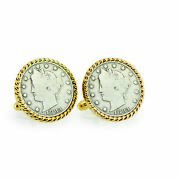 New 1883 First-year-of-issue Liberty Nickel Rope Bezel Coin Cuff Links 12724