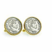 New 1800and039s Silver Barber Dime Goldtone Rope Bezel Coin Cuff Links 12737