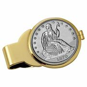 New Silver Seated Liberty Half Dollar Goldtone Coin Money Clip 13027