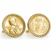 New Gold-layered Lincoln Wheat-ear Penny Cuff Rope Bezel Coin Cuff Links 12765