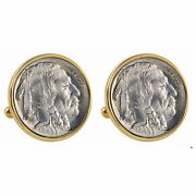 New 1913 First-year-of-issue Buffalo Nickel Goldtone Bezel Coin Cuff Links 13551