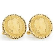 New Gold-layered 1800and039s Silver Barber Dime Rope Bezel Coin Cuff Links 12775