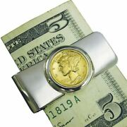 New Silvertone Coin Money Clip With Gold-layered Silver Mercury Dime 2295