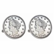 New American Coin Treasures 1800and039s Liberty Nickel Bezel Coin Cuff Links 13533