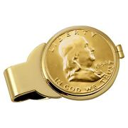New Gold-layered Silver Franklin Half Dollar Goldtone Coin Money Clip 13032