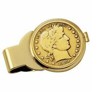 New Gold-layered Silver Barber Half Dollar Goldtone Coin Money Clip 13034