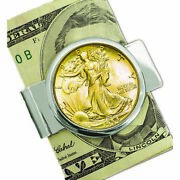 New Coin Money Clip Silver Walking Liberty Half Dollar Layered In Gold 10155
