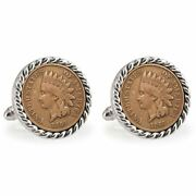 New American Coin Treasures Lsu 1860 Rope Bezel Penny Coin Cuff Links 13243