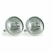 New American Coin Treasures 2004 Keelboat Sterling Silver Coin Cuff Links 12784