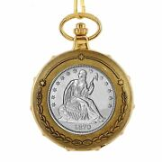 New Silver Seated Liberty Half Dollar Train Coin Pocket Watch Skeleton Movement