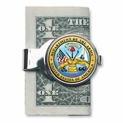 New Silver-toned Coin Money Clip W/colorized Army Jfk Half Dollar 7561