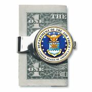 New Silver-toned Coin Money Clip W/colorized Air Force Jfk Half Dollar 7564