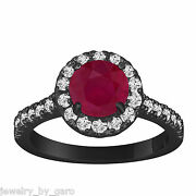 Ruby And Diamond Engagement Ring Vintage Style 14k Black Gold 1.65 Carat Halo Ring