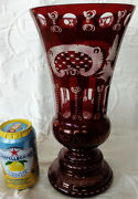 Lobmyer 1920and039s Antique Ruby Red Cut Etched Glass Vase Large Heavy 11-3/4 Tall
