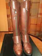 Brown Leather Polo Riding Buckled Knee High Tall Flat Boots 2150