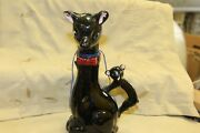 "VINTAGE BLACK CAT CLAY POTTERY JUG PITCHER CORK STOPPER   APPOX 9"" TALL"