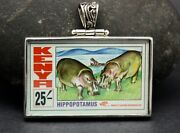 1990s Kenya Stamp Of Wto Pendant Set In .925 Sterling Silver Free Shipping