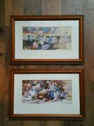 Set Of 2 Framed Prints By Marilyn Smiandle. Tea Cup Parade And Antique Tea Pots