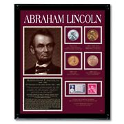 New American Coin Treasures Lincoln Framed Coin And Stamp Collection