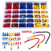 480pcs Assorted Crimp Terminal Insulated Electrical Wire Connector Spade Kit Set