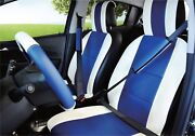 Unnie Universal White/blue Front Seat Covers Steering Wheel And 2 Seat Belt Covers