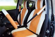 Unnie Universal White/orange Front Seat Covers Steering Wheeland 2seat Belt Covers