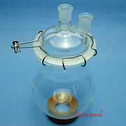 2000ml 24/29 Two Neck Glass Reactor2 Litre Lab Reaction Flask W/lid And Clamp