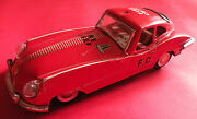 Jaguar E Type Me627 Battery Operated Lithograph Tin Toy Fire Chief Sport Car