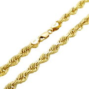 14k Yellow Gold Solid Mens 6mm Italian Diamond Cut Rope Chain Necklace 20- 30