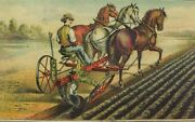 1870and039s-80and039s Oliverand039s Patent Chilled Plow Farm Scene Man Horses Field Andx