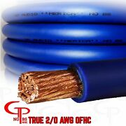 50 Ft True Awg 2/0 Gauge Ofc Copper Power Wire Blue Ground Cable Gp Car Audio