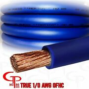 25 Ft True Awg 1/0 Gauge Ofc Copper Power Wire Blue Ground Cable Gp Car Audio Us