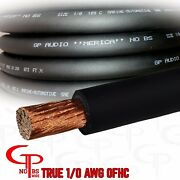 15 Ft True Awg 1/0 Gauge Ofc Copper Power Wire Black Ground Cable Gp Car Audio