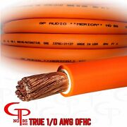 10 Ft True Awg 1/0 Gauge Ofc Copper Power Wire Orange Ground Cable Gp Car Audio