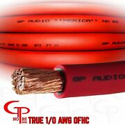 5 Ft True Awg 1/0 Gauge Ofc Copper Red Battery Power Wire Ground Cable Gp Audio