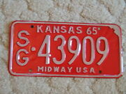 Antique 1965 Kansas License Tag/plate - 43909 Midway Usa