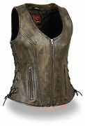 Milwaukee Leather Womenand039s Distressed Brown Leather Vest W/ Side Laces Mll4531