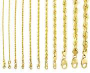 10k Yellow Gold Solid 1mm-10mm Rope Chain Necklaces Bracelets Mens Women 7- 32