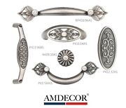 Amdecor Vintage Antique True Silver Cabinet Pull Handle Knob Hardware Designer B
