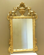 Stunning Hand Carved Gilt Italian Mirror W Urn And Florals Garlands Rococo Baroque