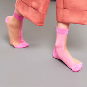 Hysteria By Happy Socks Filippa Nylon Ankle Sock In Beige And Pink