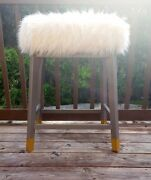 Vanity Antique Finish Bench Cushioned Bath Stool Chair Bedroom Accent Decor Seat